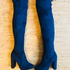 Blue Suede Knee High Boots